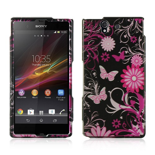 Pink Flowers & Butterflies on Black Hard Case for Sony Xperia Z