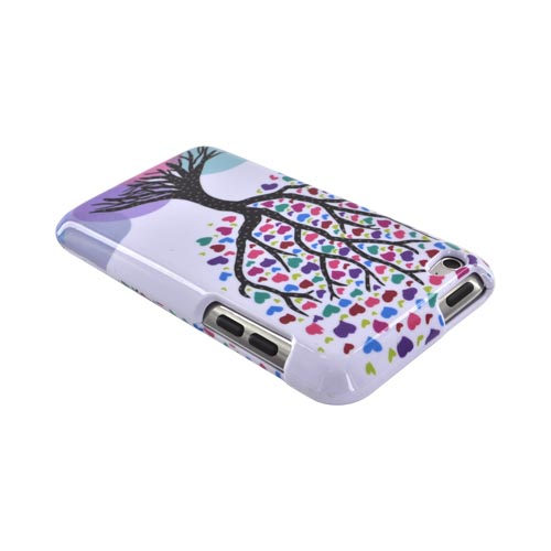 Apple iPod Touch 4 Hard Case - Black Tree w/ Multi-Colored Hearts on White