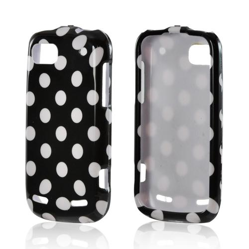White Polka Dots on Black Hard Case for ZTE Warp Sequent N861