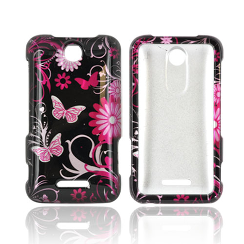 ZTE Score X500 Hard Case - Pink Flowers and Butterflies on Black