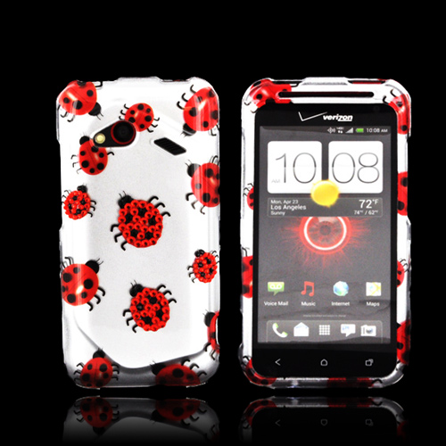 HTC Droid Incredible 4G LTE Hard Case w/ Bling - Red/ Black Ladybugs on Silver