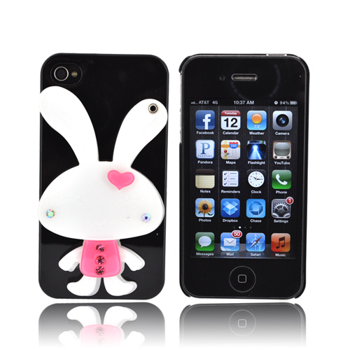 AT&T/ Verizon Apple iPhone 4, iPhone 4S Hard Case w/ Bling & Rotating Mirror - White Rabbit on Black