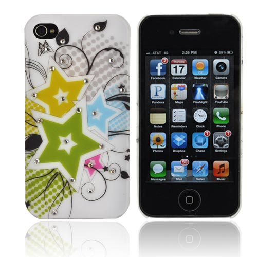Premium AT&T/ Verizon Apple iPhone 4, iPhone 4S Rubberized Hard Case w/ Bling - Green/ Yellow/ Blue Stars w/ Clear Gems