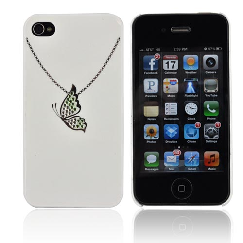Premium AT&T/ Verizon Apple iPhone 4, iPhone 4S Hard Case w/ Bling - White/ Silver Butterfly Necklace