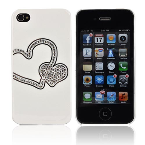 Premium AT&T/ Verizon Apple iPhone 4, iPhone 4S Hard Case w/ Bling - White/ Silver Double Heart