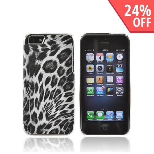 Apple iPhone 5/5S Faux Leather Hard Case - Black/ White Leopard Print w/ Chrome Accents