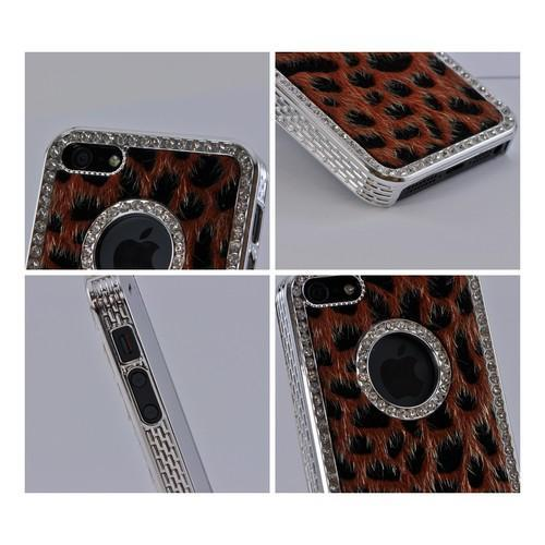 Apple iPhone SE / 5 / 5S Bling Case,  [Burnt Orange/ Black Leopard]  Faux Fur Case Cover