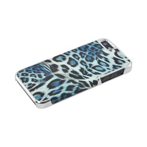 Apple iPhone 5/5S Faux Leather Hard Case - Black/ Blue Leopard Print w/ Chrome Accents