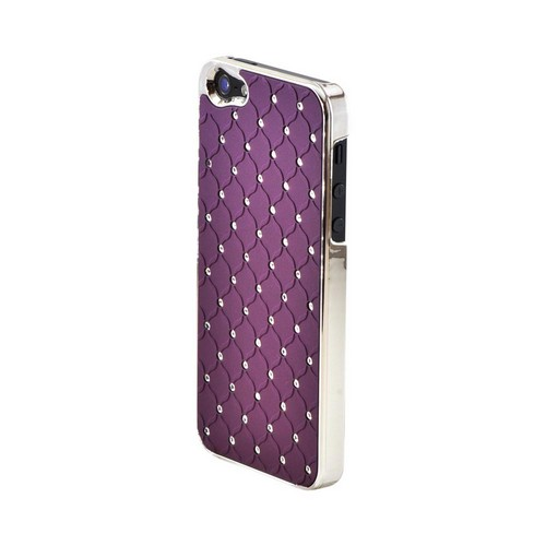 Apple iPhone 5/5S Hard Case w/ Bling & Faux Chrome - Silver Gems on Purple