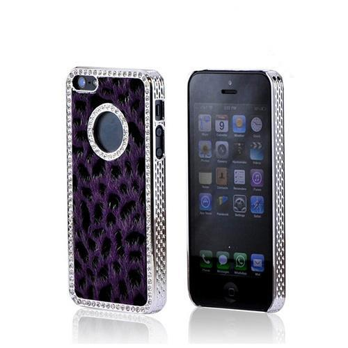 Apple iPhone SE / 5 / 5S Bling Case,  [Purple/ Black Leopard]  Faux Fur Case Cover