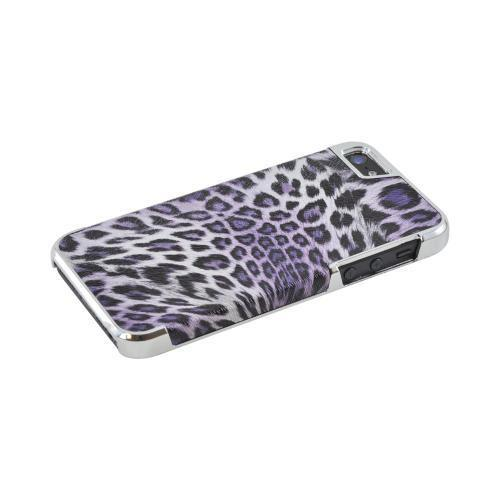 Apple iPhone SE / 5 / 5S Bling Case,  [Black/ Purple Leopard Print w/ Chrome Accents]  Faux Leather Case Cover