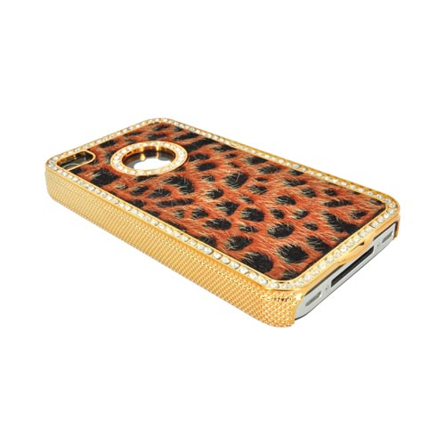 AT&T/ Verizon Apple iPhone 4 Faux Fur Hard Case w/ Bling - Burnt Orange/ Black Leopard
