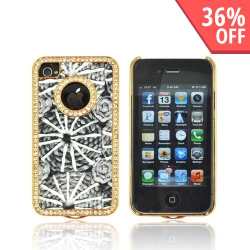 AT&T/ Verizon Apple iPhone 4, iPhone 4S Hard Case w/ Bling - Black & White w/ Gray Roses