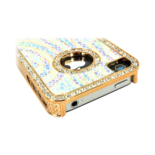 AT&T/ Verizon Apple iPhone 4, iPhone 4S Hard Case w/ Bling - Rainbow Droplets on White