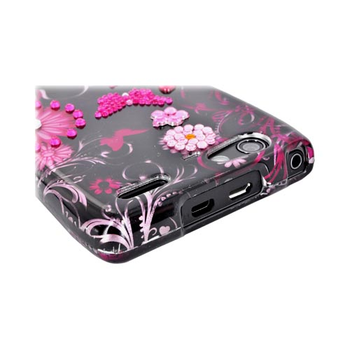Motorola Droid RAZR MAXX Hard Case w/ Bling - Pink Flowers & Butterflies on Black