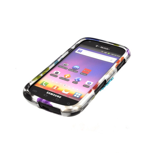 Samsung Galaxy S Blaze 4G Hard Case w/ Bling - Multi Colored Paw Prints
