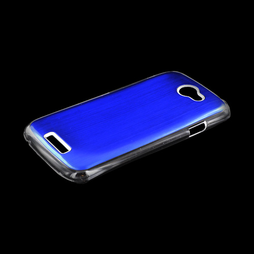 HTC One S Hard Back Clear Case w/ Aluminum - Blue