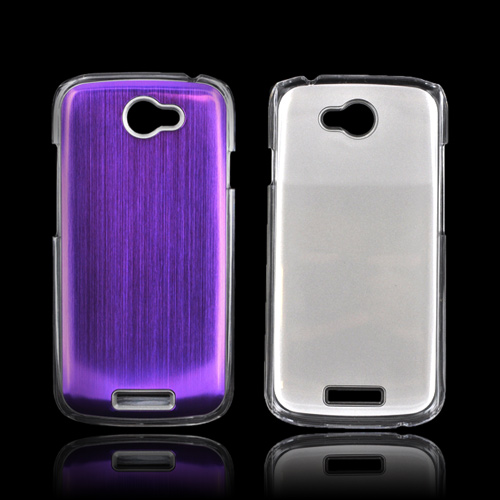 HTC One S Hard Back Clear Case w/ Aluminum - Purple