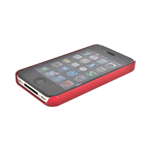 AT&T/ Verizon Apple iPhone 4, iPhone 4S Hard Back Case w/ Aluminum - Hot Pink/ Red