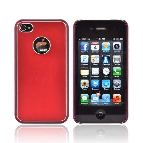 AT&T/ Verizon Apple iPhone 4, iPhone 4S Hard Back Case w/ Aluminum - Red