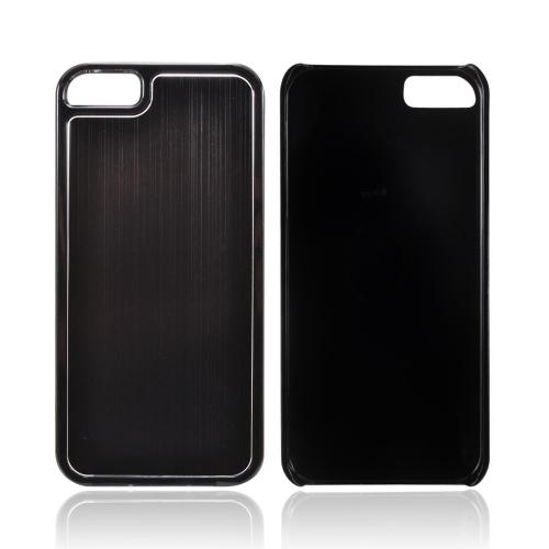 Apple iPhone 5/5S Hard Back Cover w/ Aluminum Back - Black