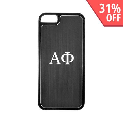 Apple iPhone 5/5S Hard Back Cover w/ Black Aluminum Back - Alpha Phi