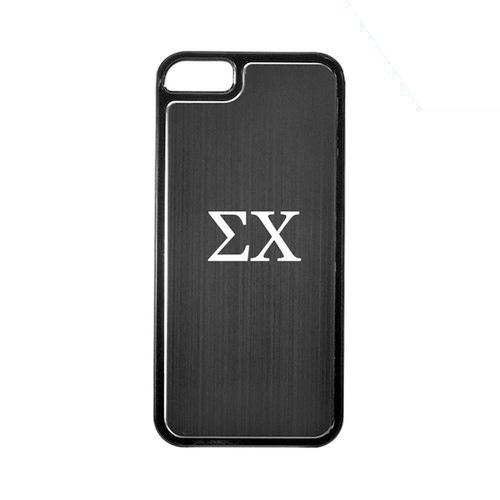 Apple iPhone 5/5S Hard Back Cover w/ Black Aluminum Back - Sigma Chi