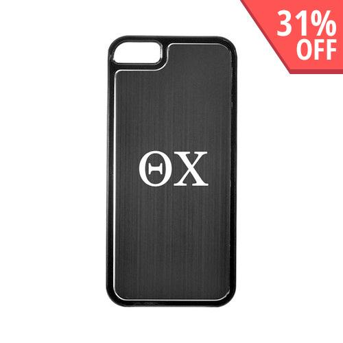 Apple iPhone 5/5S Hard Back Cover w/ Black Aluminum Back - Theta Chi