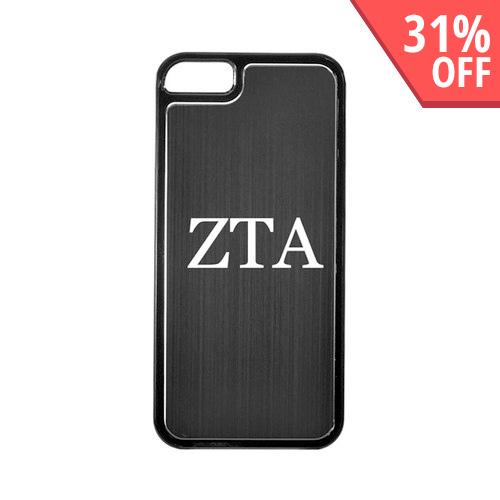 Zeta Tau Alpha Apple iPhone 5/5S Hard Back Cover w/ Black Aluminum Back