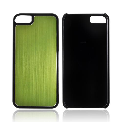 Apple iPhone 5/5S Hard Back Cover w/ Aluminum Back - Green/ Black
