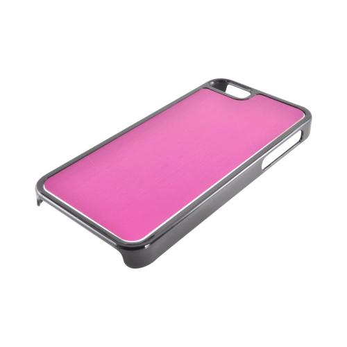 Apple iPhone 5/5S Hard Back Cover w/ Aluminum Back - Hot Pink/ Black