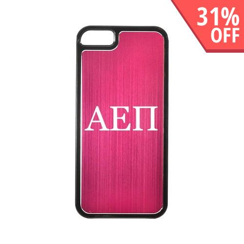 Apple iPhone 5/5S Hard Back Cover w/ Hot Pink Aluminum Back - Alpha Epsilon Pi