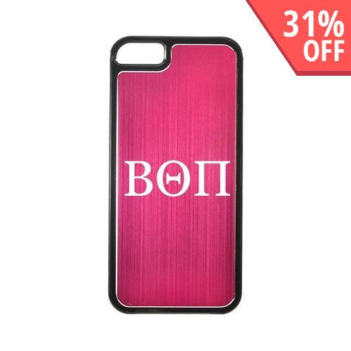 Apple iPhone 5/5S Hard Back Cover w/ Hot Pink Aluminum Back - Beta Theta Pi