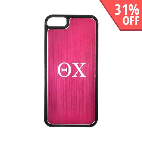 Apple iPhone 5/5S Hard Back Cover w/ Hot Pink Aluminum Back - Theta Chi