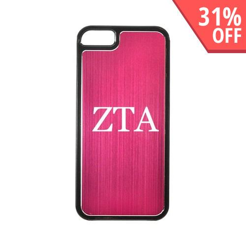 Zeta Tau Alpha Apple iPhone 5/5S Hard Back Cover w/ Hot Pink Aluminum Back