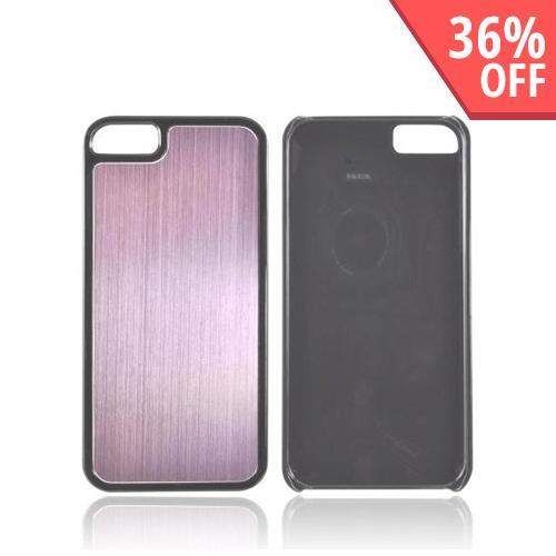 Apple iPhone 5/5S Hard Back Cover w/ Aluminum Back - Baby Pink/ Black