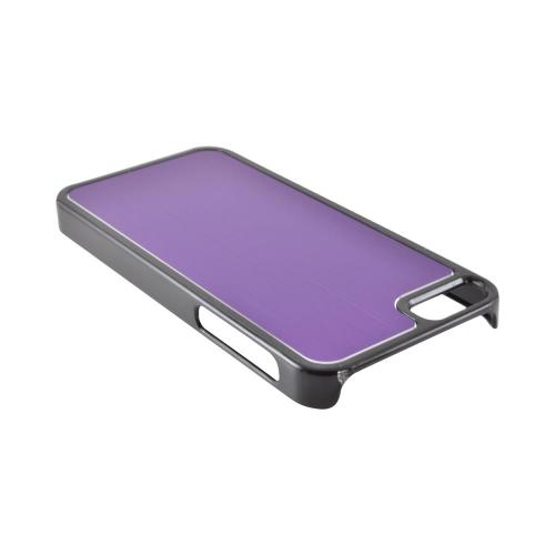 Apple iPhone 5/5S Hard Back Cover w/ Aluminum Back - Purple/ Black