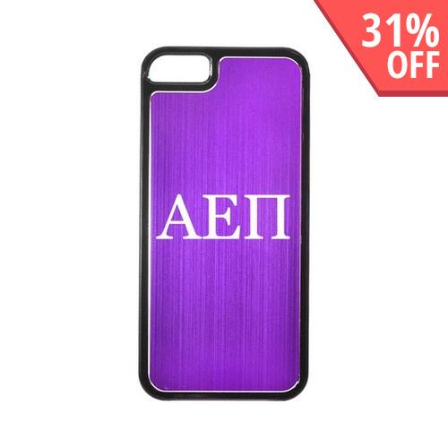 Apple iPhone 5/5S Hard Back Cover w/ Purple Aluminum Back - Alpha Epsilon Pi
