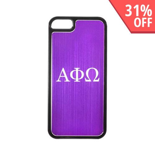 Apple iPhone 5/5S Hard Back Cover w/ Purple Aluminum Back - Alpha Phi Omega