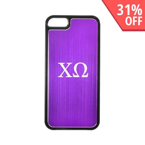 Apple iPhone 5/5S Hard Back Cover w/ Purple Aluminum Back - Chi Omega