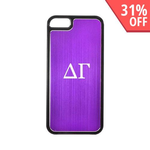Apple iPhone 5/5S Hard Back Cover w/ Purple Aluminum Back - Delta Gamma