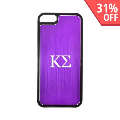 Apple iPhone 5/5S Hard Back Cover w/ Purple Aluminum Back - Kappa Sigma