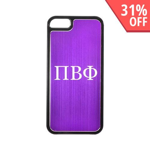 Apple iPhone 5/5S Hard Back Cover w/ Purple Aluminum Back - Pi Beta Phi