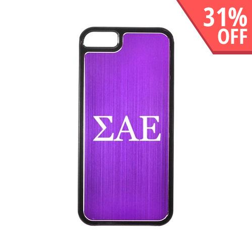 Apple iPhone 5/5S Hard Back Cover w/ Purple Aluminum Back - Sigma Alpha Epsilon