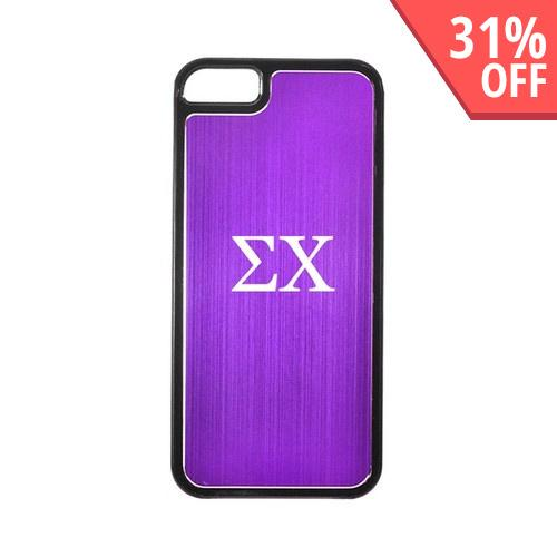 Apple iPhone 5/5S Hard Back Cover w/ Purple Aluminum Back - Sigma Chi