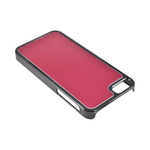 Apple iPhone SE / 5 / 5S  Case,  [Red/ Black]  Hard Back Cover w/ Aluminum Back Case