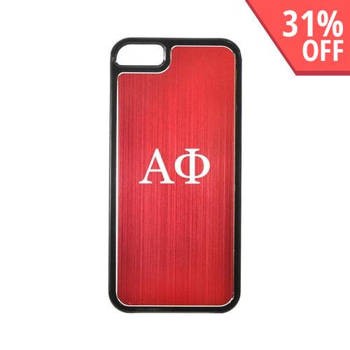 Apple iPhone 5/5S Hard Back Cover w/ Red Aluminum Back - Alpha Phi