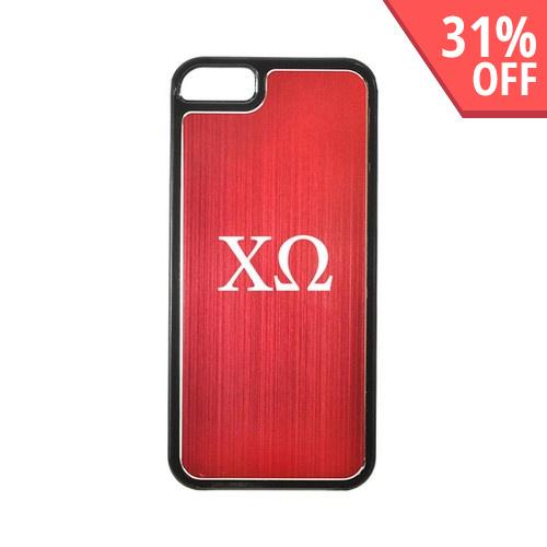 Apple iPhone 5/5S Hard Back Cover w/ Red Aluminum Back - Chi Omega