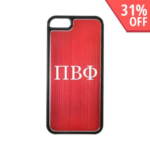 Apple iPhone 5/5S Hard Back Cover w/ Red Aluminum Back - Pi Beta Phi