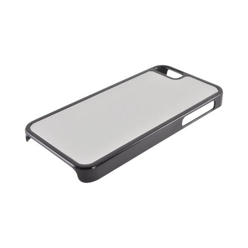 Apple iPhone 5/5S Hard Back Cover w/ Aluminum Back - Silver/ Black